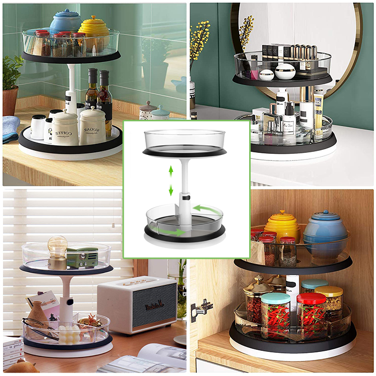 lazy susan turntable and adjustable cabinet organizer