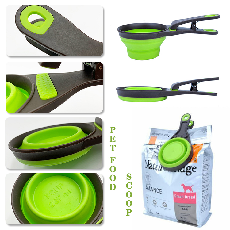 3 in 1 Collapsible Pet Food Scoop With Clip
