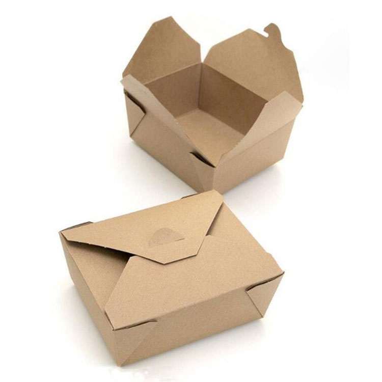 広く使用されている長方形は、プリント付きのランチフードグレードの紙箱を取り出します