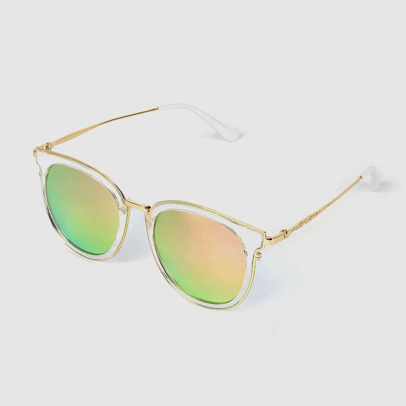 Half-metal Sunglasses With Color Mirror Lens