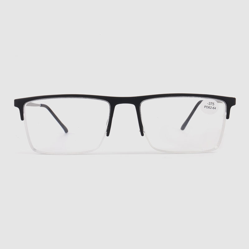 Men's Black Half Frame Optics Glasses