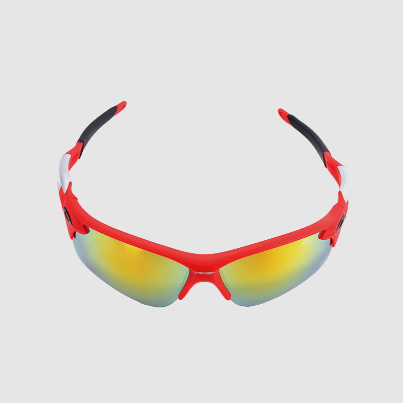 Sporty Semi Rimless Sunglasses With Color Mirror Lens