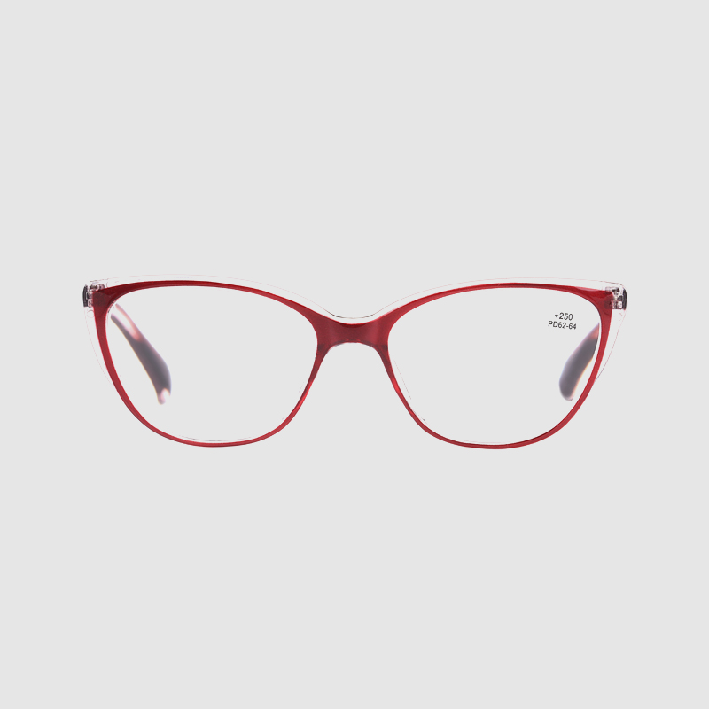 Women's Transparent Red Cateye Frame With Spring Reading Glasses