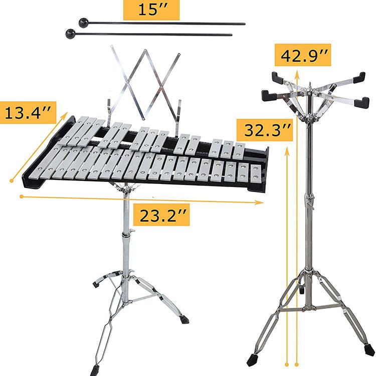 32 ກະແຈ Glockenspiel Professional Metallophone