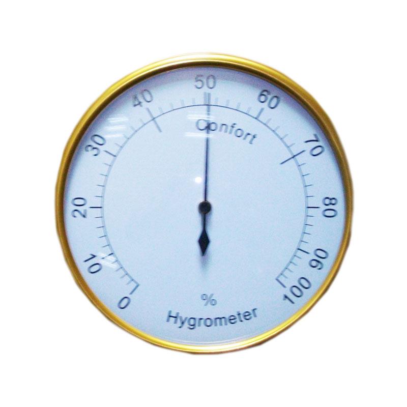 ຄົວເຮືອນເຄື່ອງໃຊ້ໃນຄົວເຮືອນສີທອງ Golden Aluminium Hygrometer