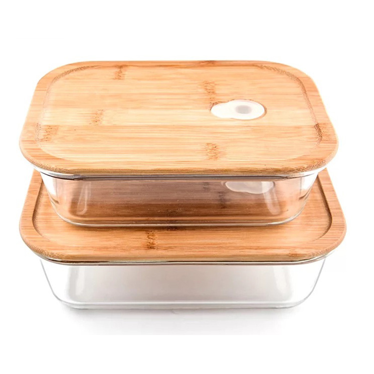Vented Bamboo Lid Rectangular Glass Food Container