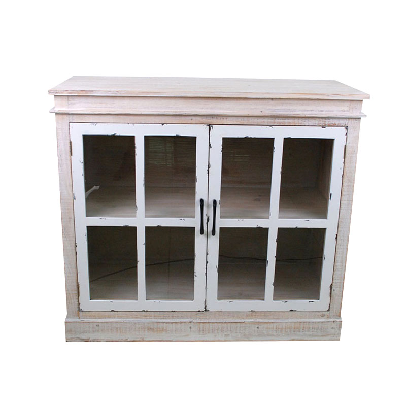 Antique Double Door Curio Cabinet In White Wash Sideboard
