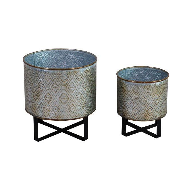 Galvanized Metal Planter Pot with Stands