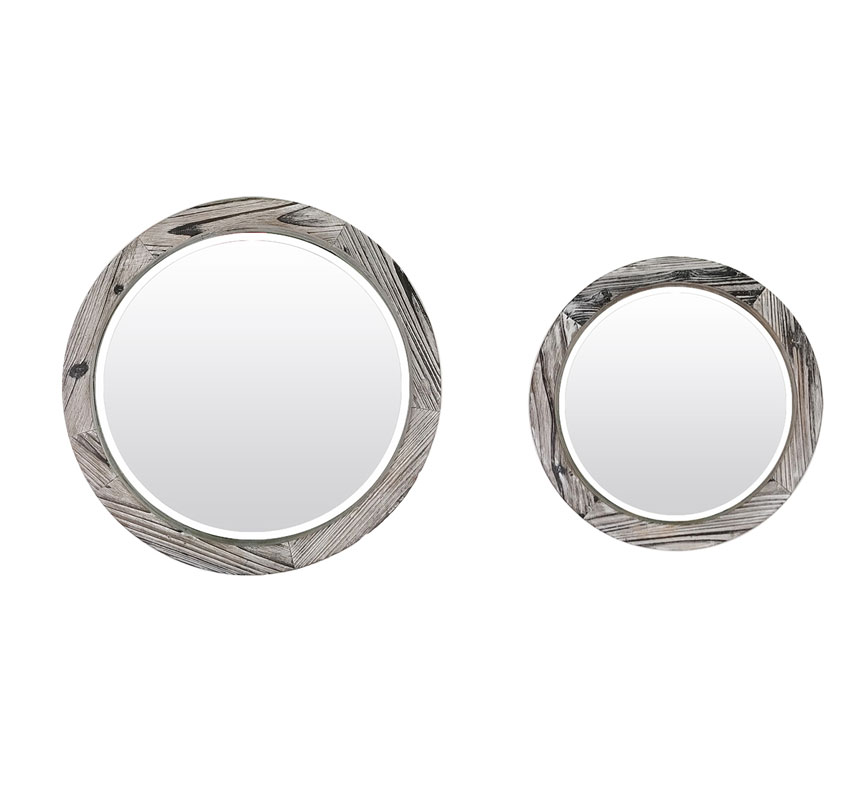 Distressed Solid Wood Frame Round Mirror Set Of 2