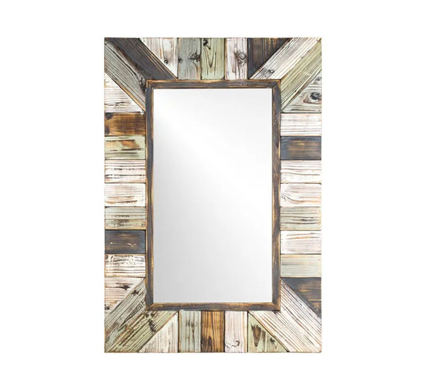 Distressed Wood Slat Wall Mirror Square Mirror Multi-Colored