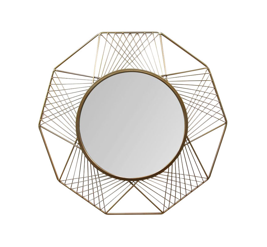 Geometric Metal Frame Hanging Wall Mirror
