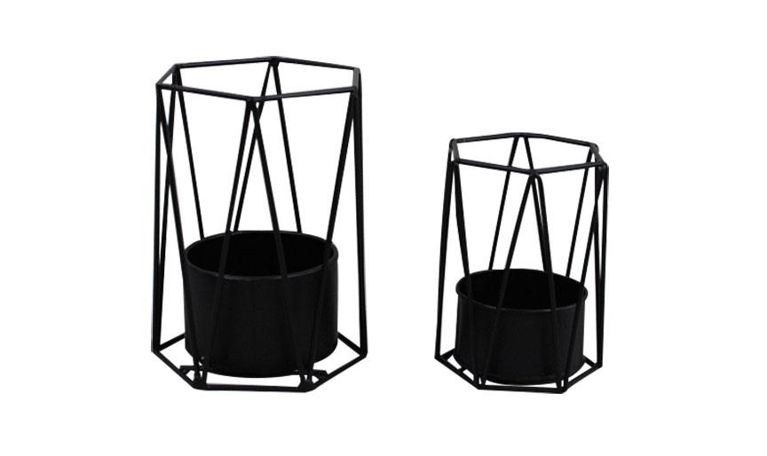 Metal Woven Candleholder Black S2