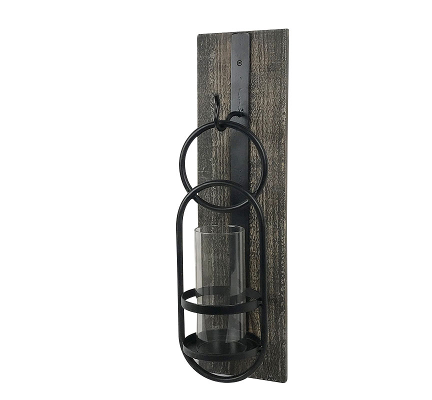 Rustic Wood And Metal Wall Sconce Candleholder