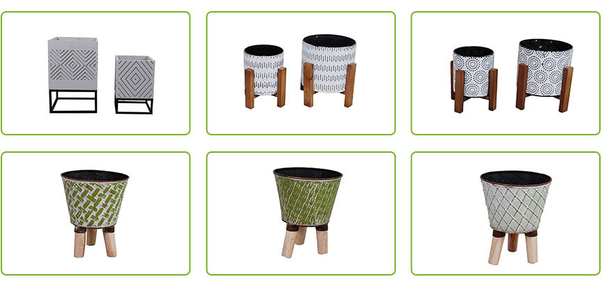 Small Planters Wood And Metal Planter Set For Succulent