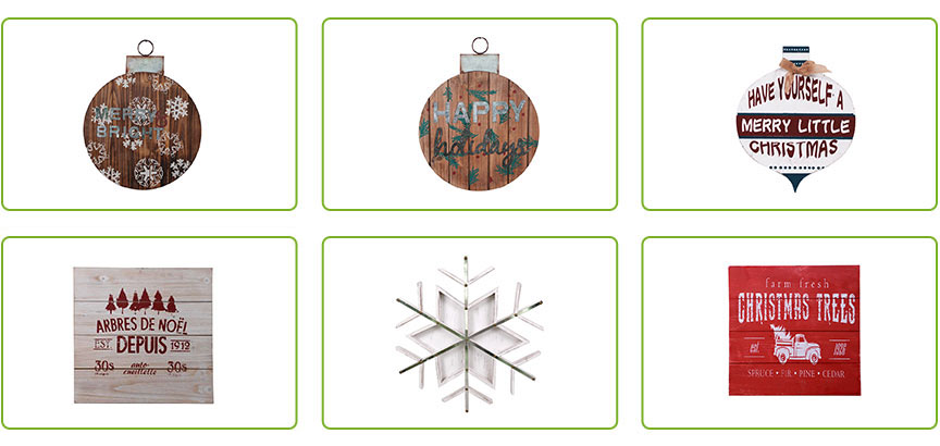 Christmas Wood And Metal Craft Wall Décor Hanging