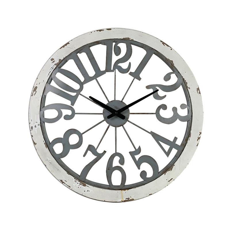 Velké nástěnné hodiny s bílým dřevěným rámem