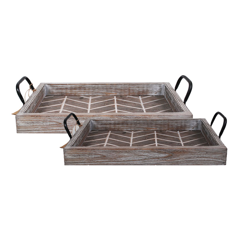 Wood Planter Tray With Metal Handles