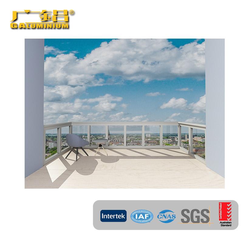 aluminium handrail with glass