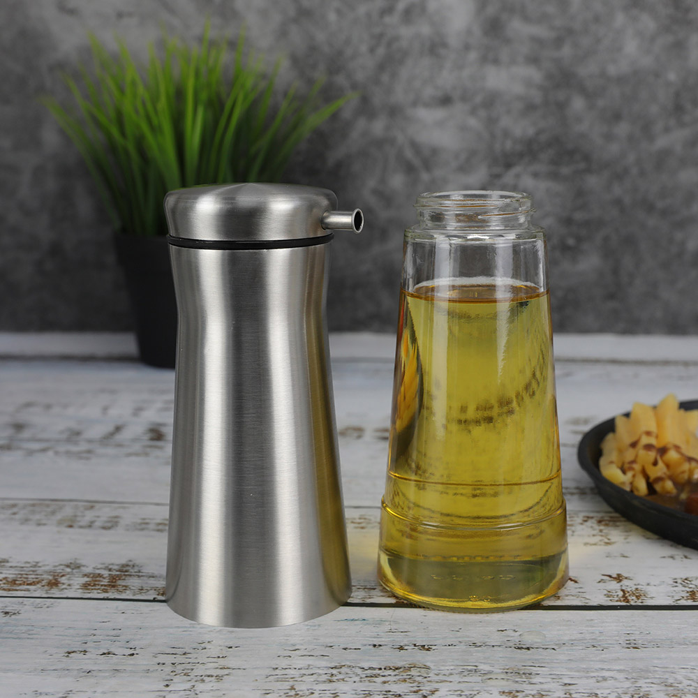 Vertical Glass Oli Bottle With SS Jacket For Olive Oil