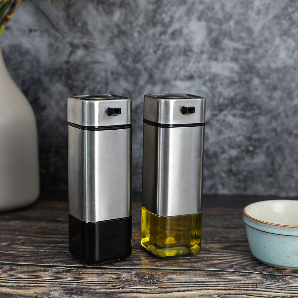 Square Glass Oil Jar With SS Jacket For Kitchen