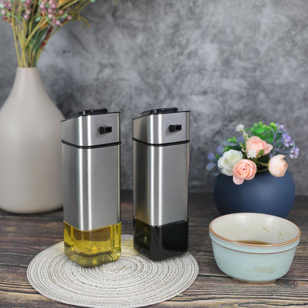 Cube Glass Oil Bottle With SS Jacket For Olive Oil