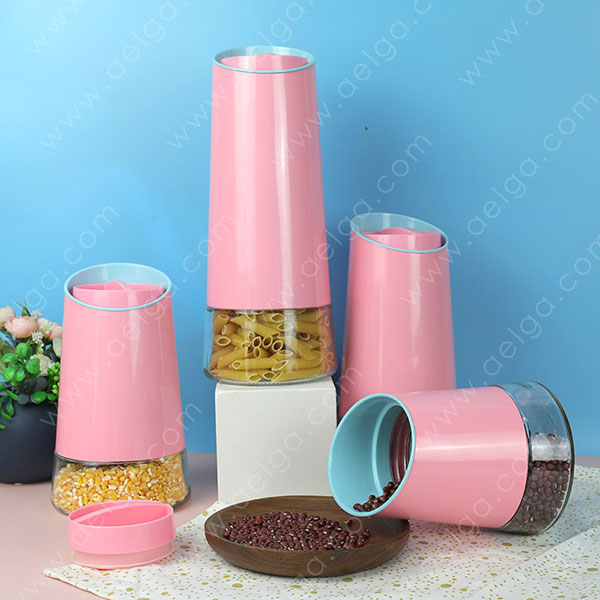 Conical Glass Canister With SS Coating Colar