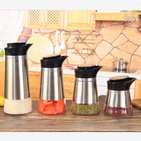 Conical Glass Canister With SS For Tea