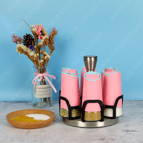 Conical Glass Spice Jar With Jacket Coating Colar