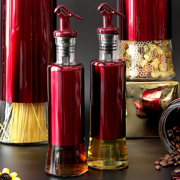 Cube Glass Oil Bottle With Jacket Coating Colar
