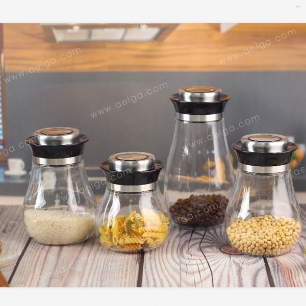Elliptical Clear Glass Canister For Spaghetti