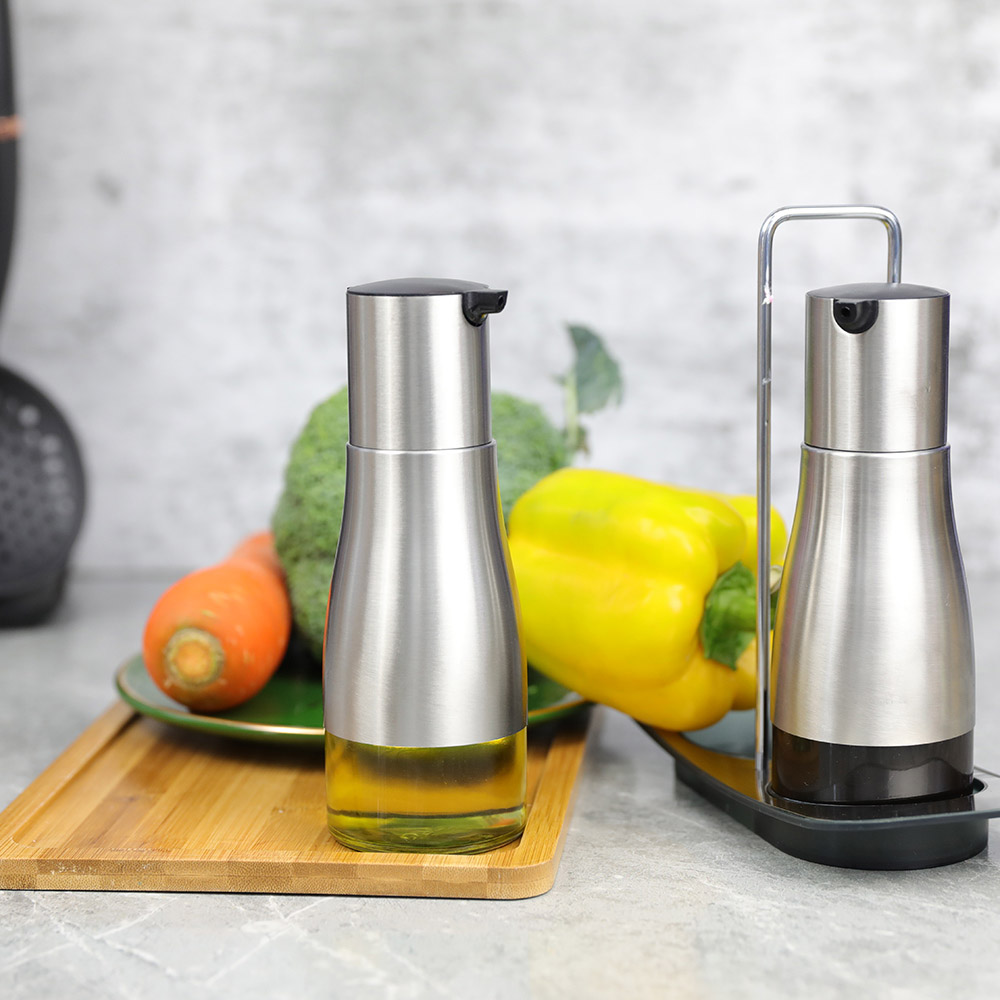 Elliptical Glass Oil Container With SS Jacket For Olive Oil