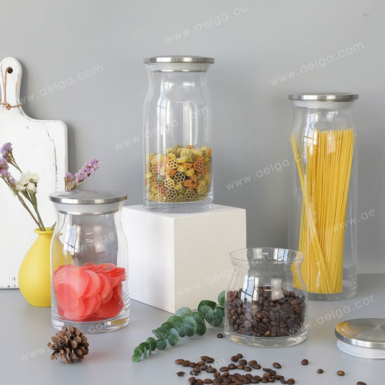 Elliptical Hand Made Glass Canister For Spaghetti