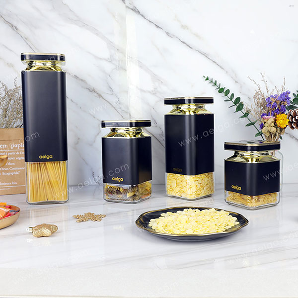 Gem Glass Canister With SS Coating Colar