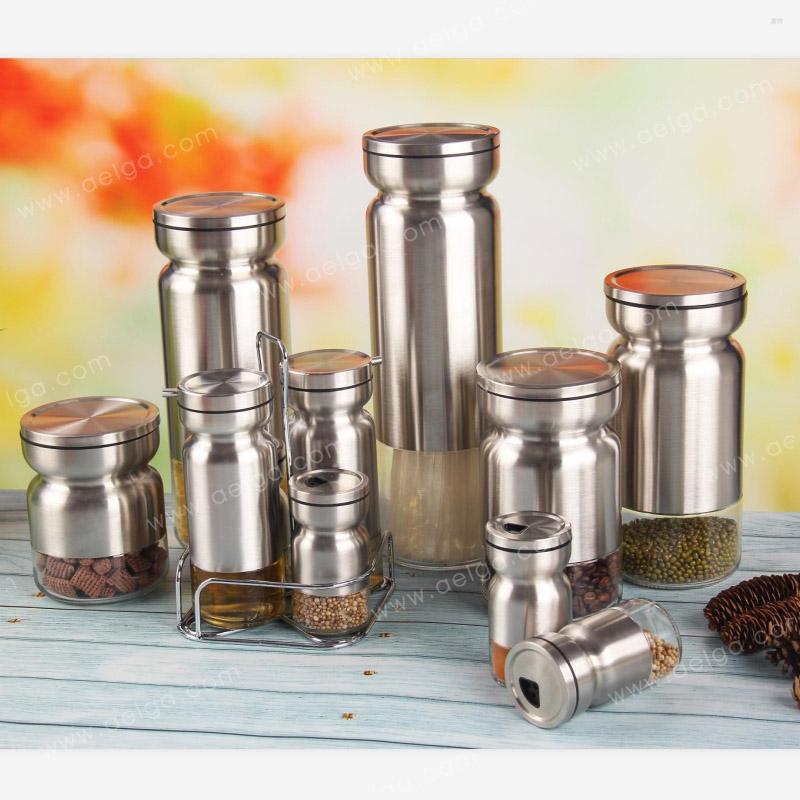 Round Glass Storage Jar With SS For Sugar