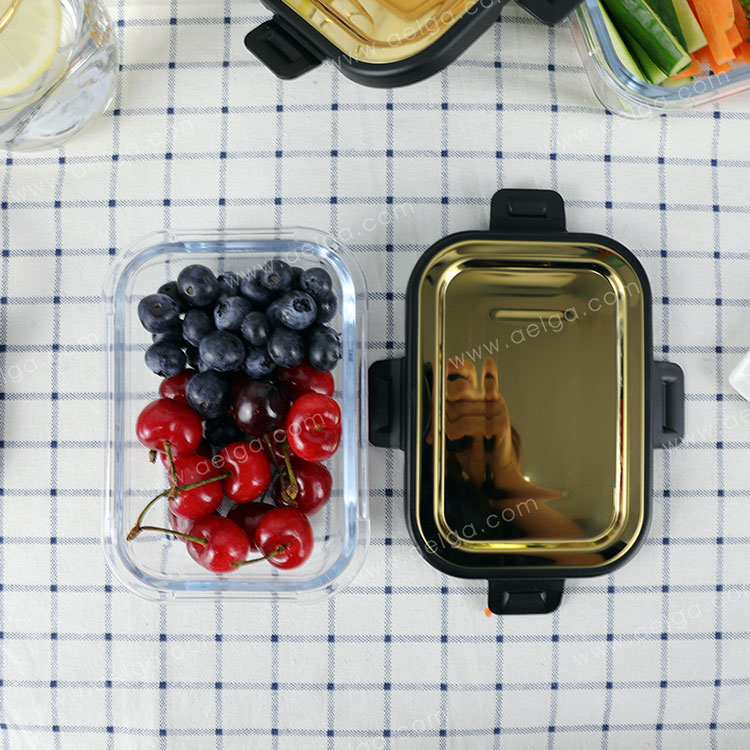 Rectangle Glass Food Container With Golden Stainless Steel Lid