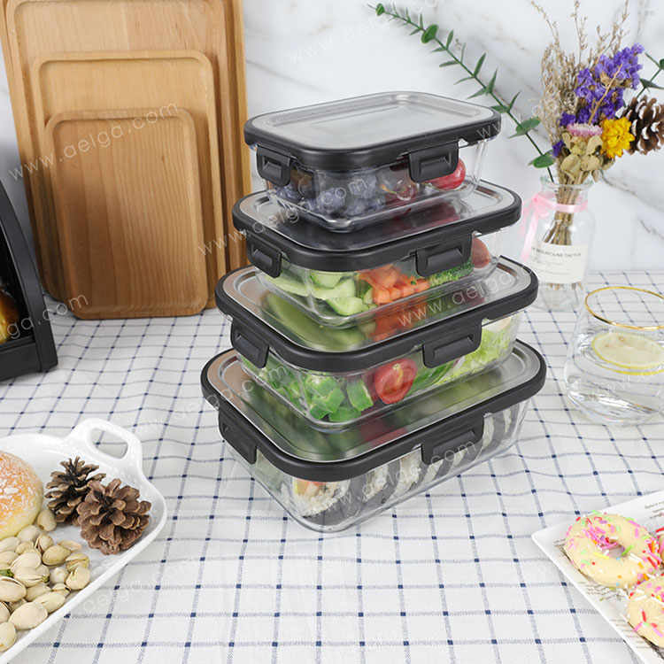 Rectangle Glass Food Container With Stainless Steel Lid