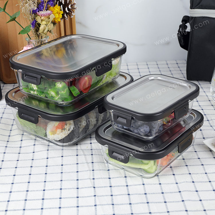 Rectangle Glass Lunch Box With Stainless Steel Lid