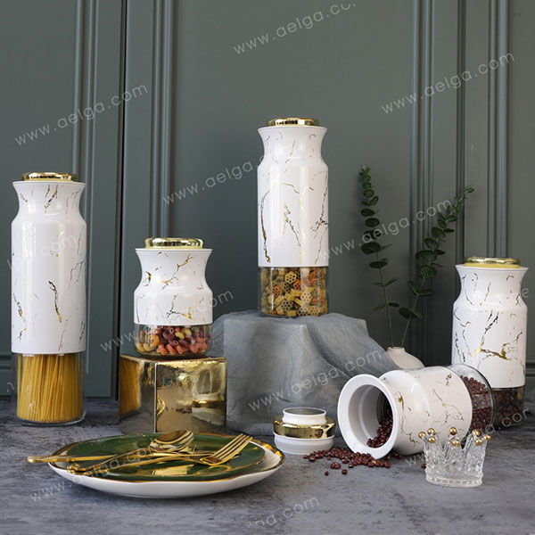 Round Glass Canister With SS With Decal