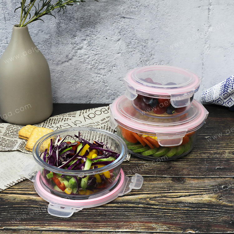 Round Glass Food Container With Plastic Lid