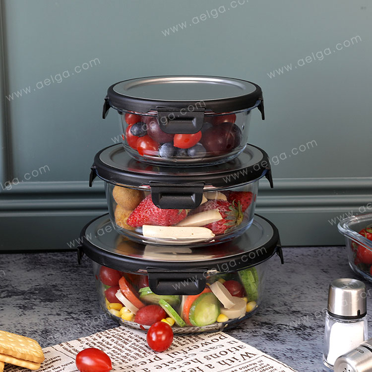 Round Glass Food Container With Stainless Steel Lid