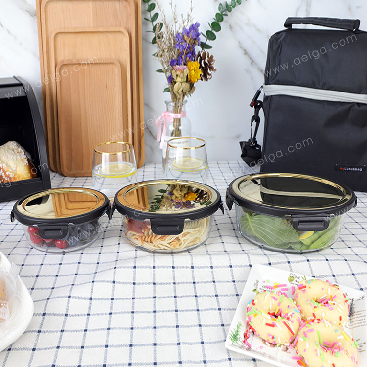 Round Glass Lunch Box With Golden Stainless Steel Lid