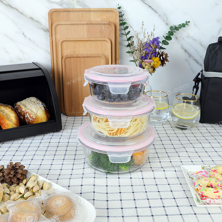 Round Glass Lunch Box With Plastic Lid