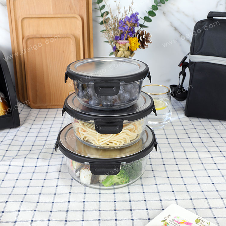 Round Glass Lunch Box With Stainless Steel Lid