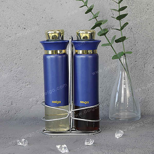Round Glass Oil Bottle With Jacket Coating Colar