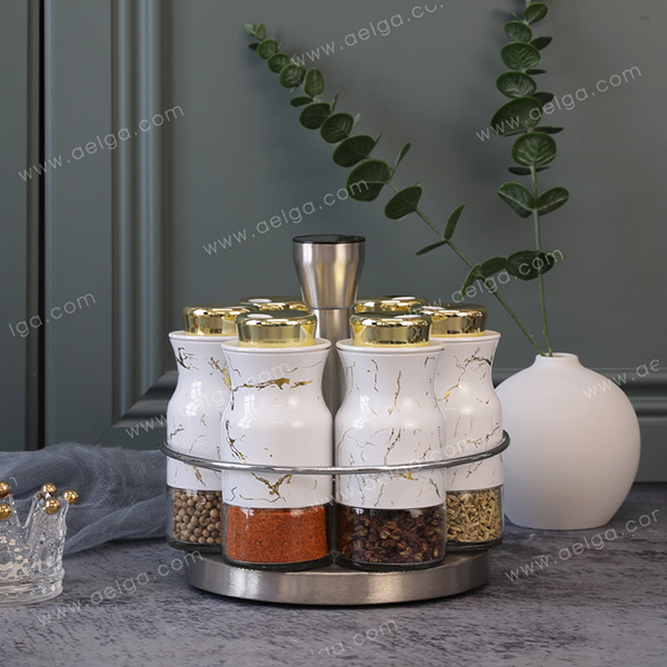 Round Glass Spice Jar With Jacket With Decal