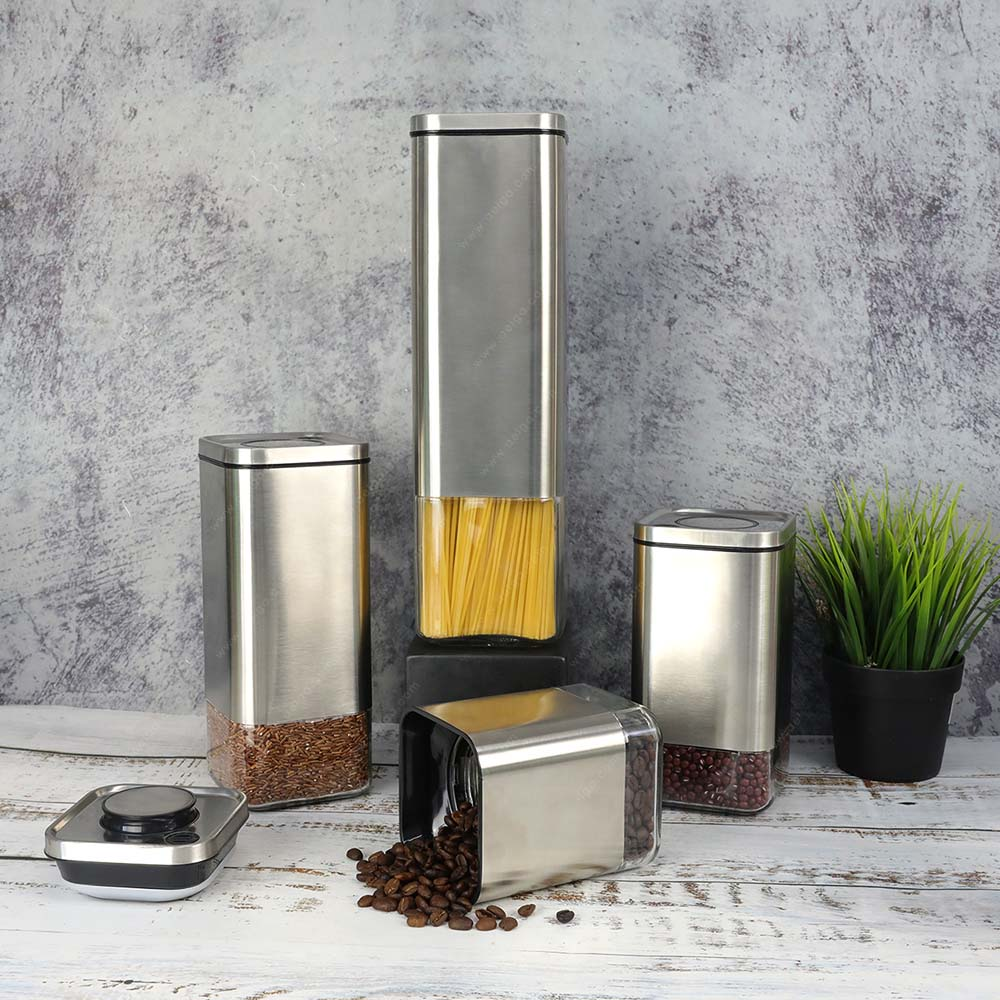 Square Glass Canister With SS For Spaghetti