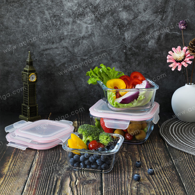 Square Glass Food Container With Plastic Lid
