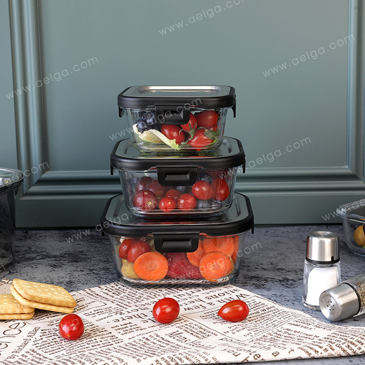 Square Glass Food Container With Stainless Steel Lid