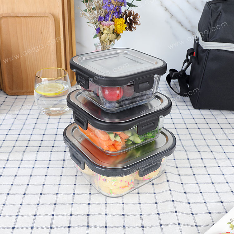 Square Glass Lunch Box With Stainless Steel Lid