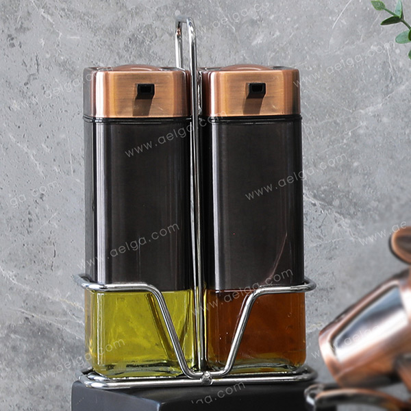 Square Glass Oil Bottle With Jacket Coating Colar